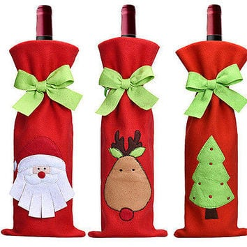 Christmas Decorations Red Santa Tree Wine Bottle Cover Bag Dinner Party Gift HU