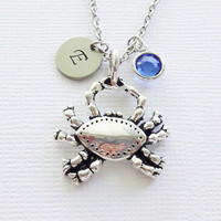 Crab Necklace Nautical Animal Beach Wedding Sea Ocean Summer Gift Jewelry Swarovski Birthstone Silver Personalized Monogram Hand Stamped