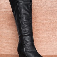 Qupid High Stepping Tall Knee High Wedge Boots Val-03 - Black