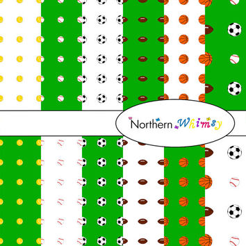 Digital Scrapbooking Paper Set – Sports Ball Patterns , Baseball ,Tennis Ball , Basketball , Soccer Ball , and Football  INSTANT DOWNLOAD