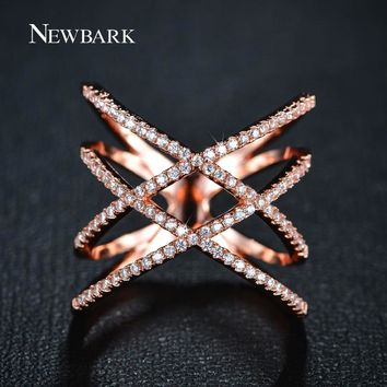 NEWBARK Vintage Double Cross X Shape Rings for Women Zirconia Micro Paved Rose Gold And Gold Color Jewelry For Christmas Gifts