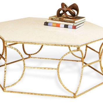 Hex Marble Cocktail Table, Gold/Cream, Coffee Table Base, Sofa Table