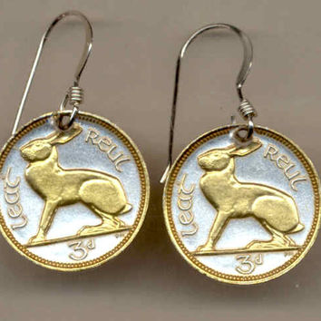 Gorgeous 2-Toned   Gold on Silver Irish  Rabbit  Coin Earrings