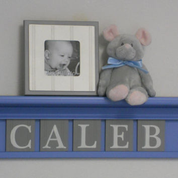"Grey Nursery Wall Decor / Room Decor - Personalized for Baby CALEB on 24"" Light Blue Shelf with 5 Grey Letter Blocks"