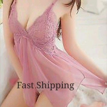 LMFXT3 Sexy Lace Dress Lingerie Babydoll Pink G-string Set Nightwear