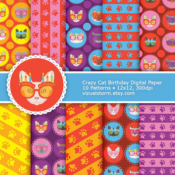 Crazy Cat Birthday Digital Paper - Cats Wearing Party Glasses, stripes, paw prints, bright handmade printable backgrounds, Buy 2 Get 1 Free