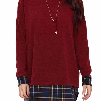 Plaid Splice Burgundy Long Sleeve Tunic Top