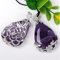 Natural Amethyst Rose Design Inlaid Teardrop Pendant
