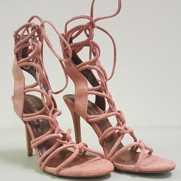 AMICA LACE UP SANDAL - BLUSH (SAMPLE)