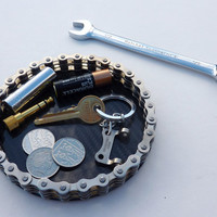 Bike chain carbon fiber desk tidy, office organiser, loose coin tray, key holder mans guys cycling cyclist biker gift accessory