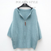 Winter Long Loose Rabbit Fur Women Sweater Knitted Cardigan Drop shoulder Coat with Zipper of 2 Colors