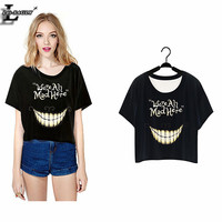 """""""We're All Mad Here"""" Harajuku T-shirts Short Crop Tops Punk Sleeve Women Clothes 2015 Summer Style O-neck Tshirts F977"""