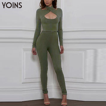 YOINS New 2017 Women Sexy Blouses Long Sleeve Halter Neck Crossover Bodycon Velvet Shirt Blusas Casual Solid Slim Tops