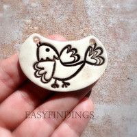 Pottery Bird Pendant, Earthy Jewelry Making Supply, Handmade Ceramic Jewelry, one of a kind whimsical