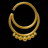 Gold Plated Septum For Pierced Nose - Body Jewelry - Septum Jewelry - Indian Nose Ring - Ethnic Septum - Septum Piercing - Nose Jewelry