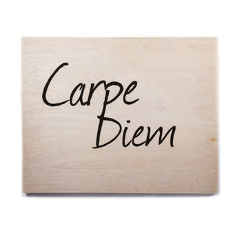 "Oriana Cordero ""Carpe Diem"" Black White Birchwood Wall Art"