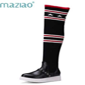 MAZIAO Socks Boots Women Over The Knee High Boots Autumn Winter Knitted Shoes  Long Thigh High Boots Elastic size 34-43