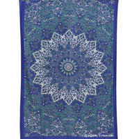 Blue & White Twin Indian Star Print Hippie Dorm Decor Tapestry Wall Hanging Art