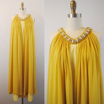Yellow gown- Chiffon evening dress- Mustard dress- Beaded collar v neck  women's formal wear- 1960's- Small/ Medium