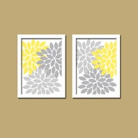 Yellow Gray Wall Art Canvas Artwork Bold Colorful Floral Flower Burst Set of 2 Prints  Baby Decor   Bedroom Bathroom NURSERY Crib