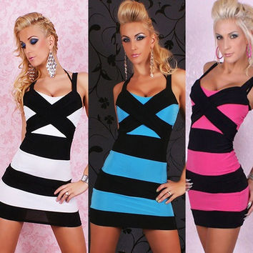 Fashion White/Hot Pink/Blue Black Bandage Ball Party Cocktail Dress Clubwear = 1946962820