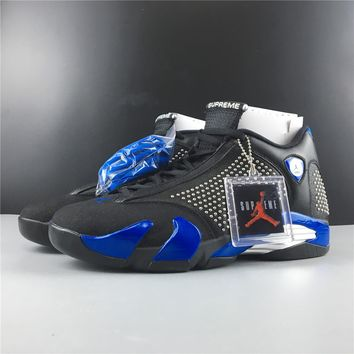 Supreme x Air Jordan 14 Black/Blue BV7630-004