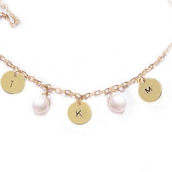 Gold Initial Necklace Coin Pearl 14K Gold Filled Charm Jewelry gift wedding birthday engraved