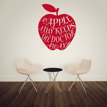 Vinyl Decal Wall Sticker Phrase An Apple a Day Keeps Doctor Away Decor Unique Gift (n806)