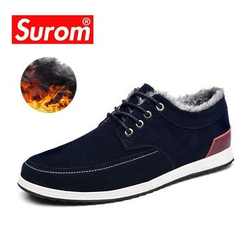 SUROM Men's Leather Casual Shoes Brand Winter New Fashion Sneakers Men Loafers Adult Moccasins Male Suede Shoes Krasovki