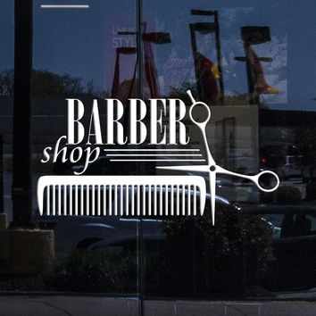 Window Sign for Business Vinyl Decal Wall Sticker Barber Shop Badges Tools Hair Salon Sign (n856w)