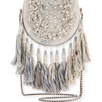 Balmain Beaded Tassel-Trim Flap Shoulder Bag