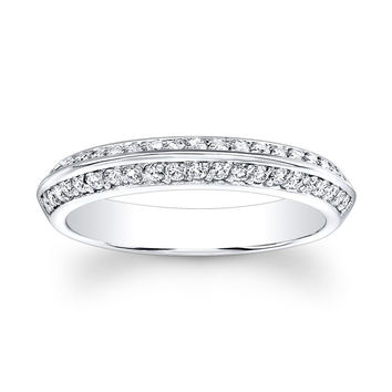 Ladies 14kt white gold antique wedding band with 0.33 carats G-VS2 diamond
