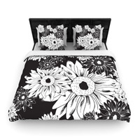 "Laura Escalante ""Midnight Florals"" Black Sunflower Woven Duvet Cover"