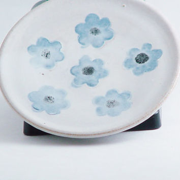 "Spoon Rest or Ring Dish, Handmade Ceramic Plate, 4"" inch White Plate with Blue Flowers, Wheel Thrown Pottery"