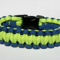 Paracord Survival Bracelet  Royal Blue and Neon by theangryrobot
