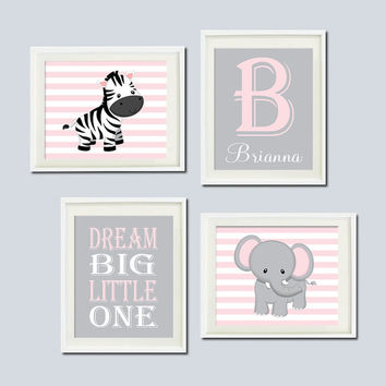 JUNGLE Nursery Wall Art ELEPHANT Zebra Dream Big Little One Set of 4 Prints Or Canvas Zoo SAFARI Animals Baby Girl Decor Jungle Theme Decor