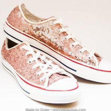 QIYIF sequin rose gold canvas converse canvas low top sneakers tennis shoes
