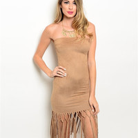 Women Fashion Strapless Camel Velvet Suede BodyCon Dress Fringe Casual Boho Sexy