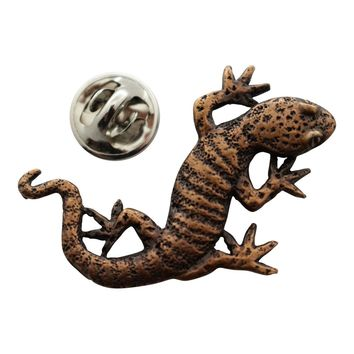 Gecko Pin ~ Antiqued Copper ~ Lapel Pin
