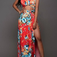 Red Floral Print Cut Out Draped Halter Neck Double Slit Maxi Dress