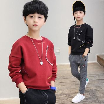 new 2018 boys t-shirts kids long sleeve tees tops clothes solid cotton spring autumn children school t shirt boys kids clothes