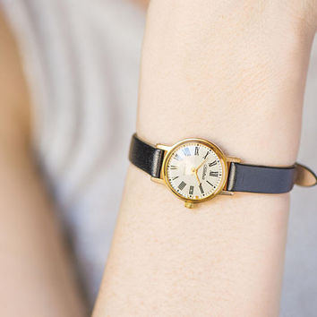 Minimalist women's watch Glory, gold plated tiny wristwatch, classical lady's watch, water protected watch gift, premium leather strap new
