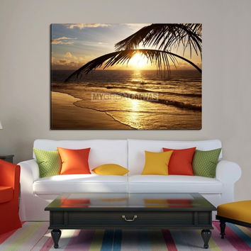 Framed Large Wall Art Canvas Sunlight Burns Between Palm Leafs