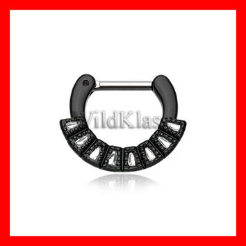 Black Septum Clicker Sabre Arc 16g 14g Septum Ring Cartilage Earrings Nipple Ring Circular Barbell Tragus Jewelry Helix Conch