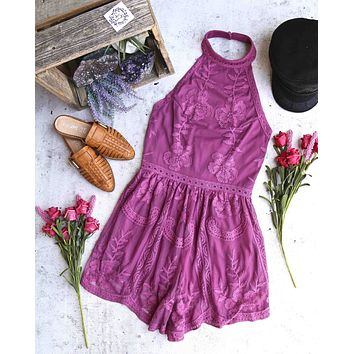sleepless & sleeveless - halter neck mesh lace romper - mauve