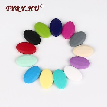 TYRY.HU Baby Teether 25pc Flat Oval Silicone Beads For Teething Necklace Mix & Match Color Loose Diamond Beads DIY Chew Jewelry