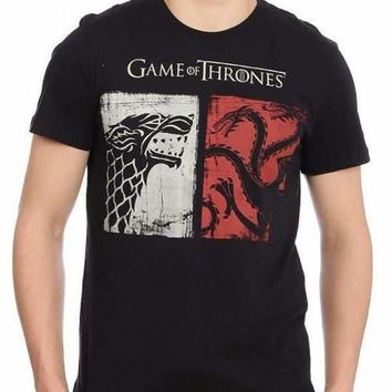 Game Of Thrones Power Duo Black Half Sleeve Men