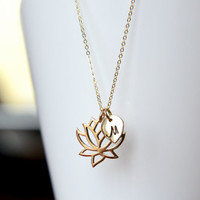 Gold Lotus Necklace , Personalize Lotus Petal Necklace , Initial Necklace, Lotus Leaf Necklace , Good Luck Necklace , Gift