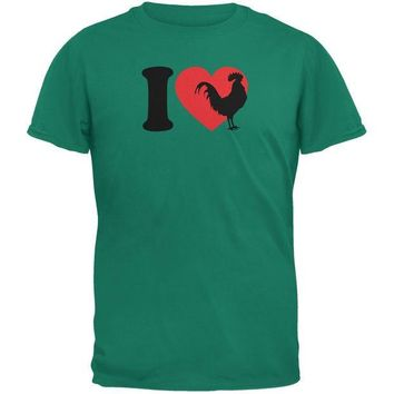 CREYCY8 I Heart Love Roosters Jade Green Adult T-Shirt