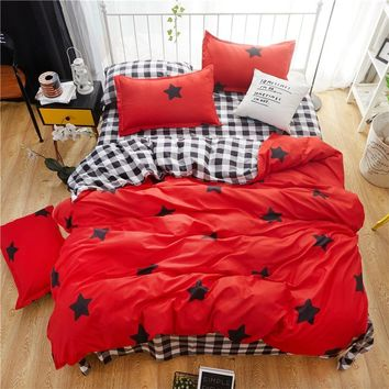 American style bedding set AB side bed set super king size bed linens pink duvet cover set heart home bedding